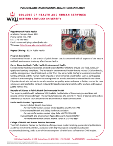 PUBLIC HEALTH-ENVIRONMENTAL HEALTH  CONCENTRATION WESTERN KENTUCKY UNIVERSITY