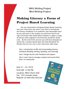 Making Literacy a Focus of Project Based Learning WKU Writing Project Mini-Writing Project