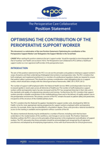 OPTIMISING THE CONTRIBUTION OF THE PERIOPERATIVE SUPPORT WORKER Position Statement