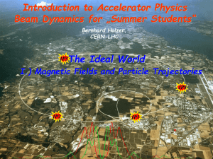 "Introduction to Accelerator Physics Beam Dynamics for ""Summer Students"" The Ideal World"