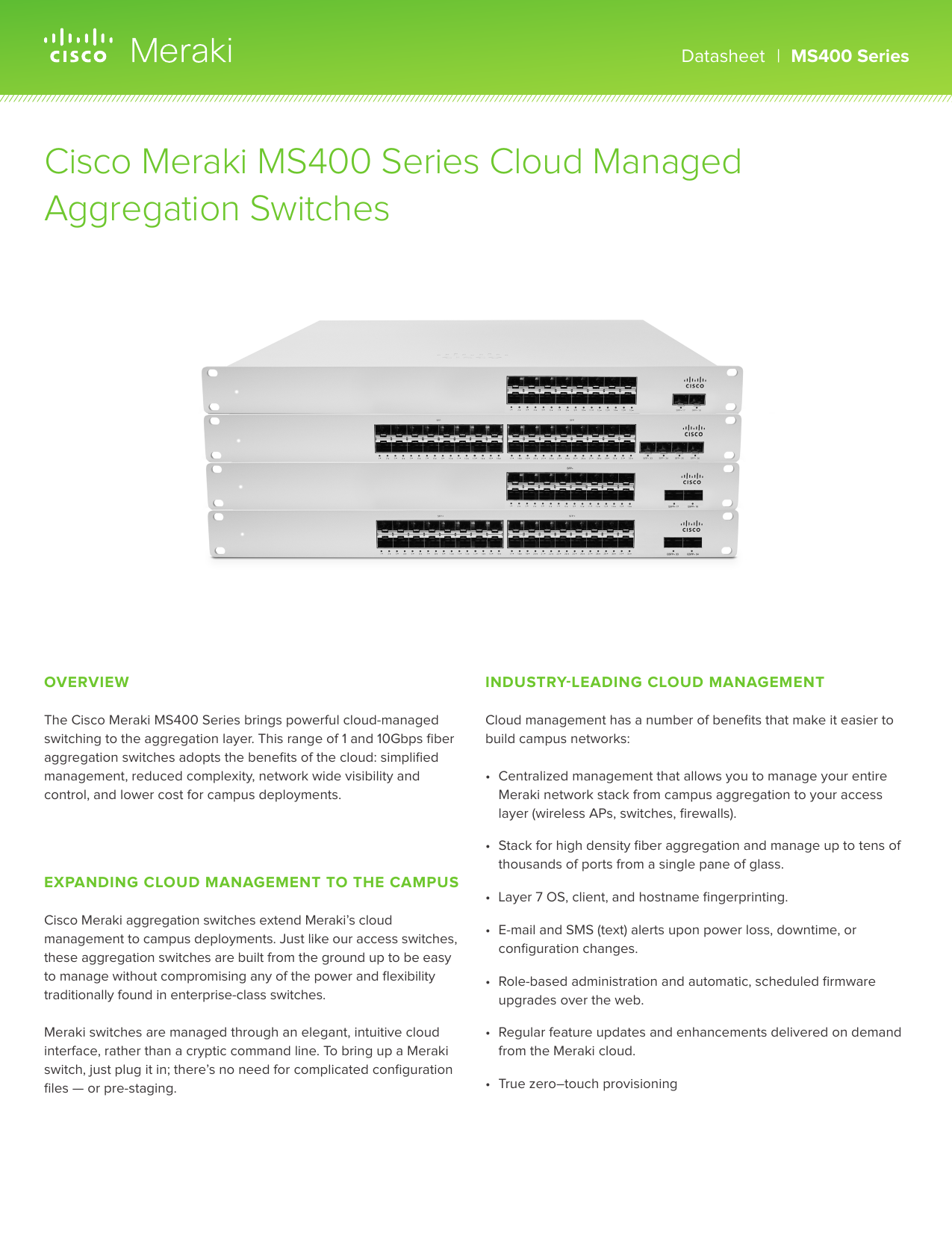 Cisco Meraki MS400 Series Cloud Managed Aggregation Switches