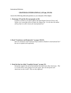 International Relations  CHAPTER 20: INTERNATIONAL LAW (pp. 319-334)