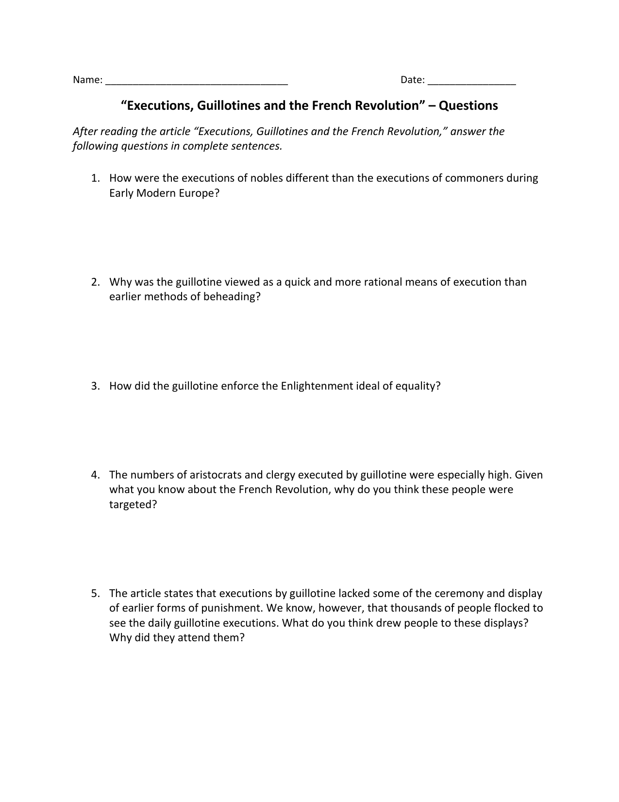 """Executions, Guillotines and the French Revolution"""" – Questions"""