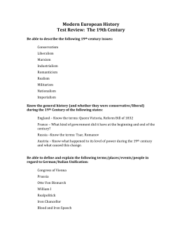 Modern European History Test Review:  The 19th Century