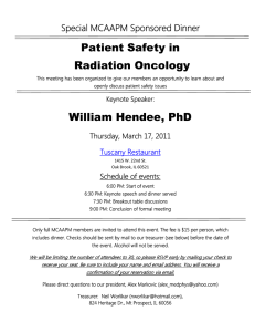 Patient Safety in Radiation Oncology Special MCAAPM Sponsored Dinner