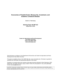Economies of Feedlot Scale, Biosecurity, Investment, and Endemic Livestock Disease