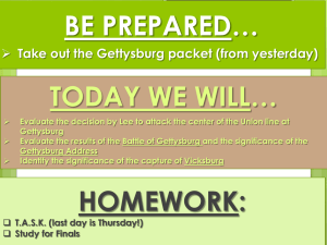 BE PREPARED… TODAY WE WILL…  Take out the Gettysburg packet (from yesterday)