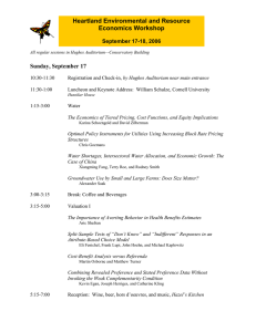 Heartland Environmental and Resource Economics Workshop Sunday, September 17 September 17-18, 2006