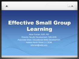 Effective Small Group Learning