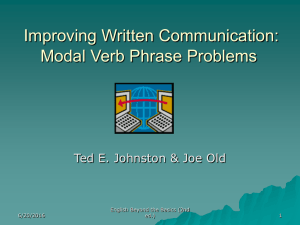 Improving Written Communication: Modal Verb Phrase Problems English Beyond the Basics (2nd