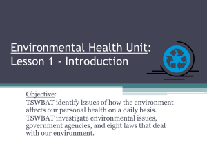 Environmental Health Unit: Lesson 1 - Introduction