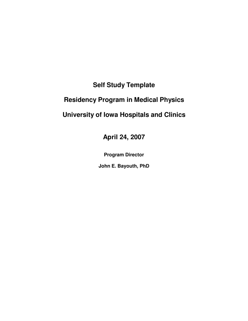 Self Study Template Residency Program in Medical Physics
