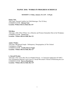 MAPOC 2010:  WORKS-IN-PROGRESS SCHEDULE