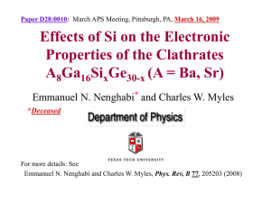 Effects of Si on the Electronic Properties of the Clathrates A Ga