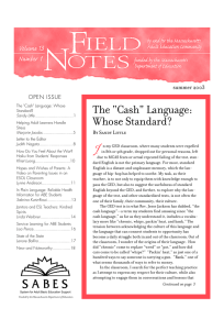 "I The ""Cash"" Language: Whose Standard? summer 2003"