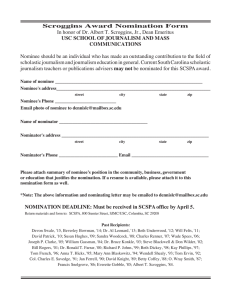 Scroggins Award Nomination Form USC SCHOOL OF JOURNALISM AND MASS COMMUNICATIONS