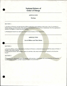 National Bylaws of Order of Omega ARTICLE ONE Meetings