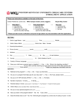 WESTERN KENTUCKY UNIVERSITY CHILD CARE CENTERS ENROLLMENT APPLICATION