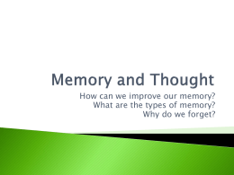 How can we improve our memory? Why do we forget?