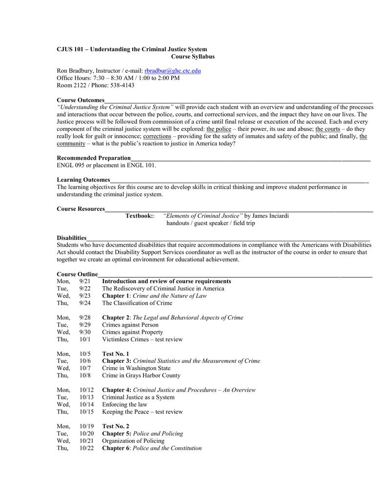 intro to criminal justice course description