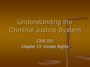 Understanding the Criminal Justice System CJUS 101 Chapter 13: Inmate Rights