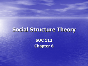 Social Structure Theory SOC 112 Chapter 6