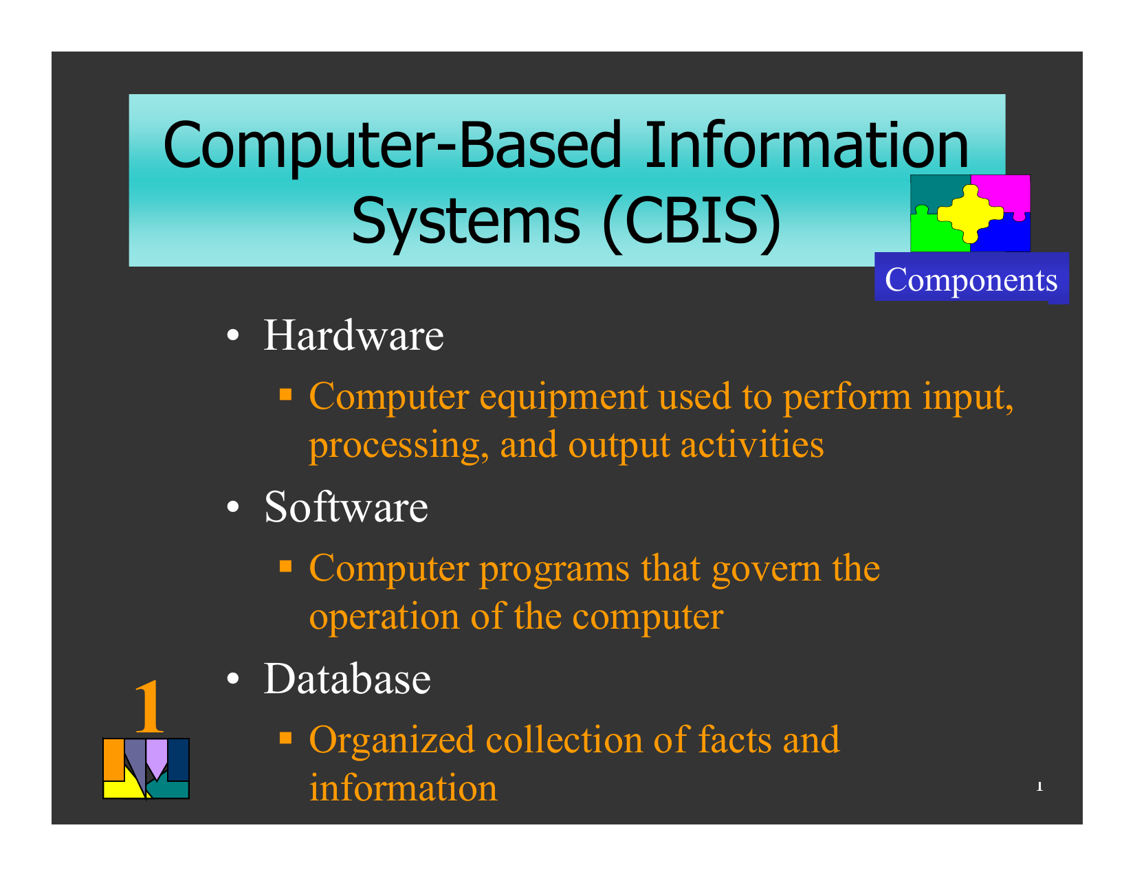 Computer-Based Information Systems (CBIS) • Hardware • Software