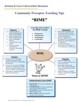 """RIME"" Community Preceptor Teaching Tips  A"