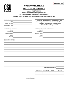 COSTCO WHOLESALE OSU PURCHASE ORDER