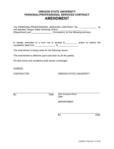 AMENDMENT OREGON STATE UNIVERSITY PERSONAL/PROFESSIONAL SERVICES CONTRACT