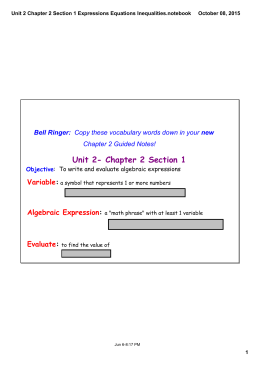 Unit 2- Chapter 2 Section 1 Variable Algebraic Expression Evaluate