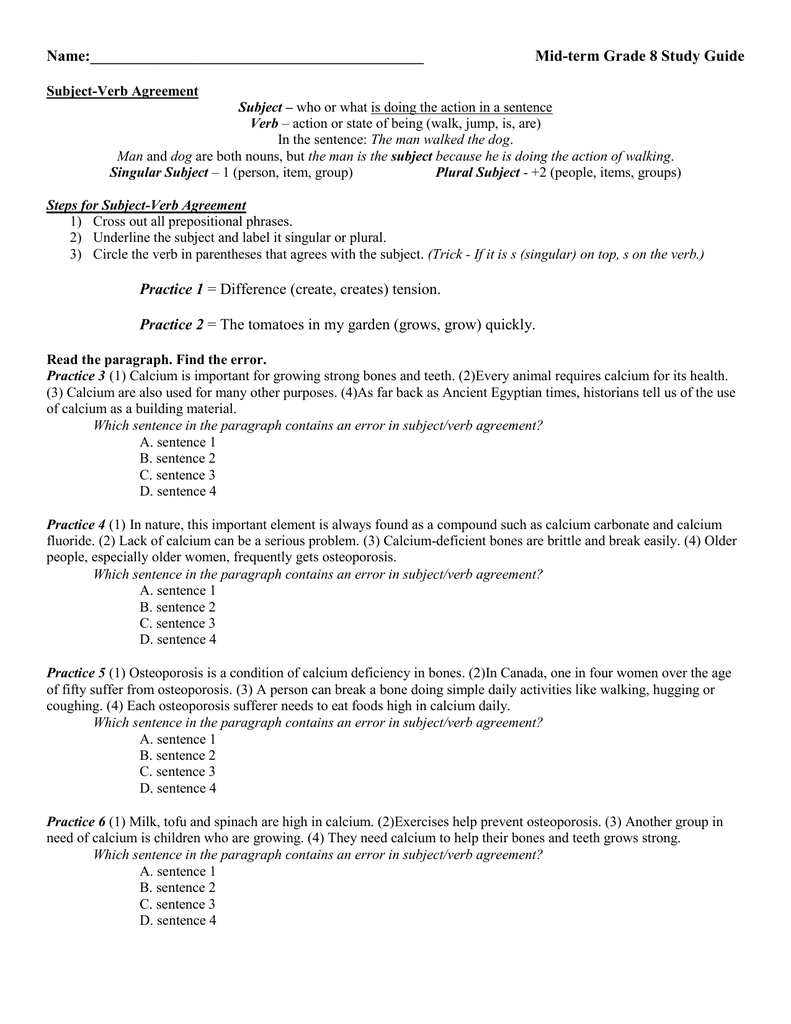 Name Mid Term Grade 8 Study Guide