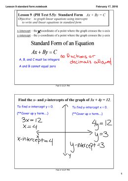 Lesson 9  (PH Text 5.5):  Standard Form     Ax + By = C