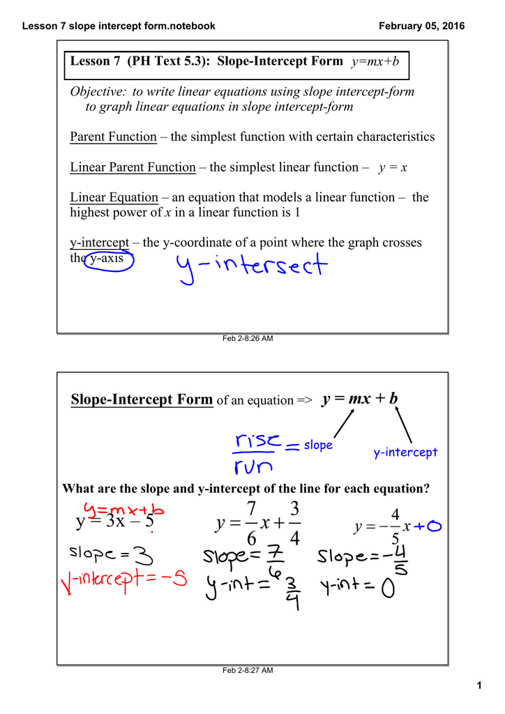 Lesson 7 Ph Text 53 Slopeintercept Form Ymxb Objective To