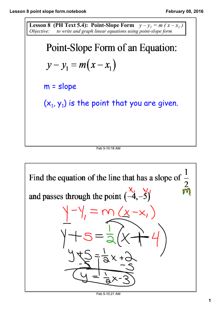 point slope form y-y1=m(x-x1)  m = slope (x , y