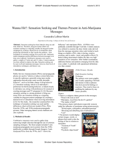 Wanna Hit?: Sensation Seeking and Themes Present in Anti-Marijuana Messages Cassandra LeBrun-Martin Abstract.