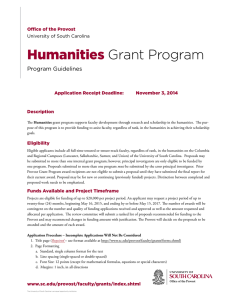 Humanities Grant Program Program Guidelines Office of the Provost