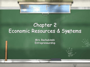 Chapter 2 Economic Resources & Systems Mrs. Rachubinski Entrepreneurship