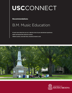 USC B.M. Music Education Recommendations