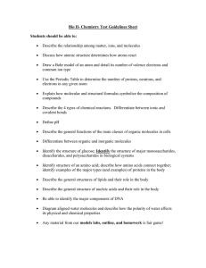 Bio II- Chemistry Test Guidelines Sheet Students should be able to:
