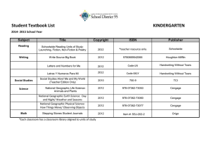 Student Textbook List KINDERGARTEN 2014- 2015 School Year Subject