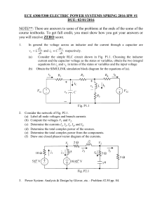 ECE 4300/5300 ELECTRIC POWER SYSTEMS SPRING 2016 HW #1 DUE: 02/01/2016