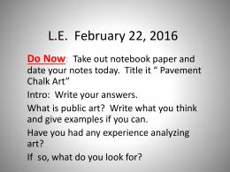L.E.  February 22, 2016 Do Now