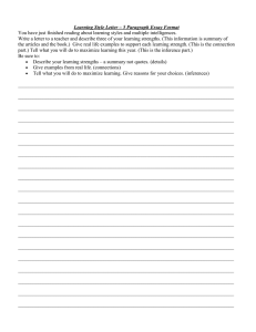 Learning Style Letter – 5 Paragraph Essay Format