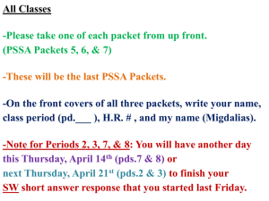 All Classes -Please take one of each packet from up front.