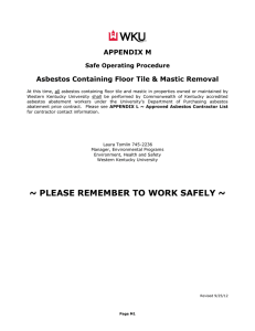 APPENDIX M Asbestos Containing Floor Tile & Mastic Removal Safe Operating Procedure
