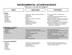 ENVIRONMENTAL STUDIES/SCIENCE What can I do with this degree? STRATEGIES AREAS
