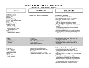 What can I do with this degree? POLITICAL SCIENCE & GOVERNMENT EMPLOYERS AREAS