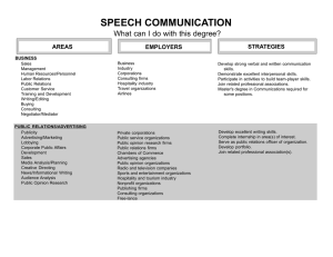 SPEECH COMMUNICATION What can I do with this degree? STRATEGIES AREAS