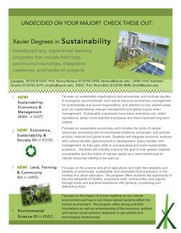 Sustainability Xavier Degrees in UNDECIDED ON YOUR MAJOR?